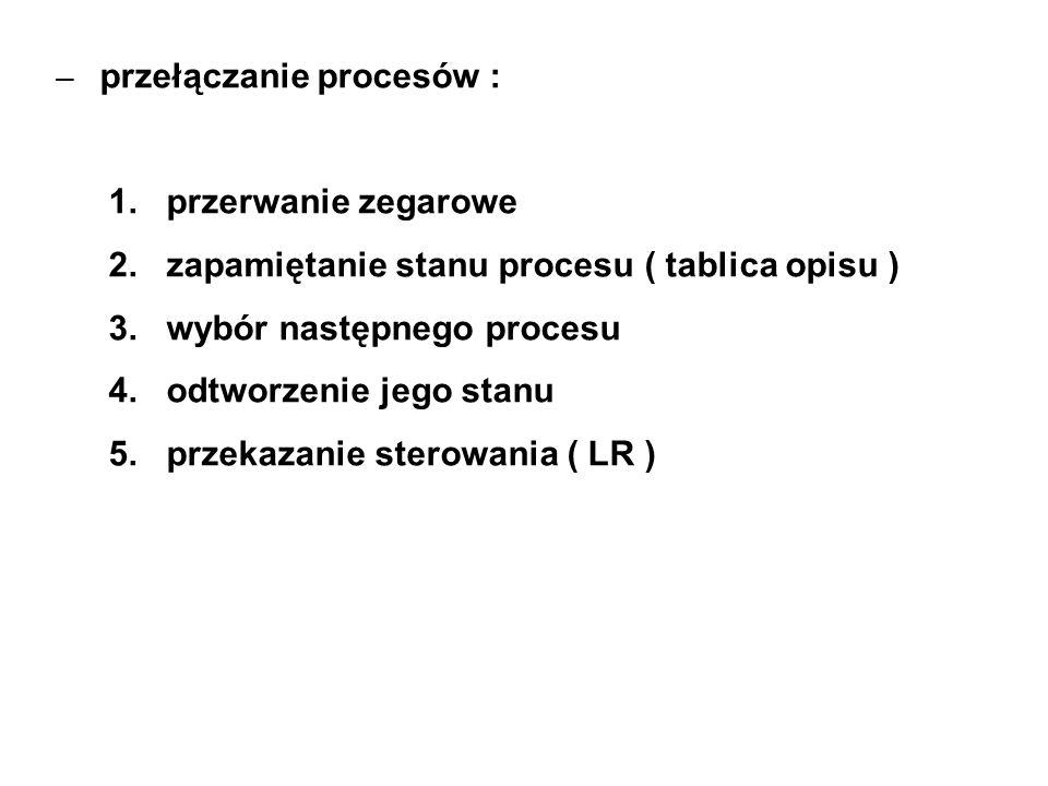 – przełączanie procesów : 1. przerwanie zegarowe 2. zapamiętanie stanu procesu ( tablica opisu ) 3. wybór następnego procesu 4. odtworzenie jego stanu