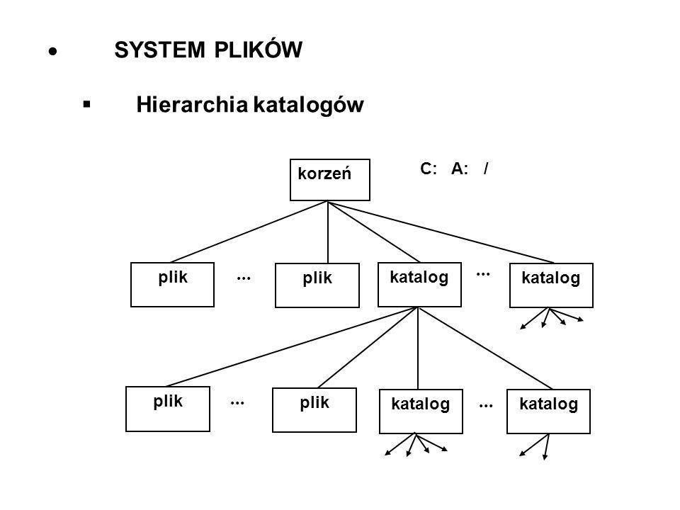 SYSTEM PLIKÓW Hierarchia katalogów korzeń C: A: / plik katalog... plik katalog
