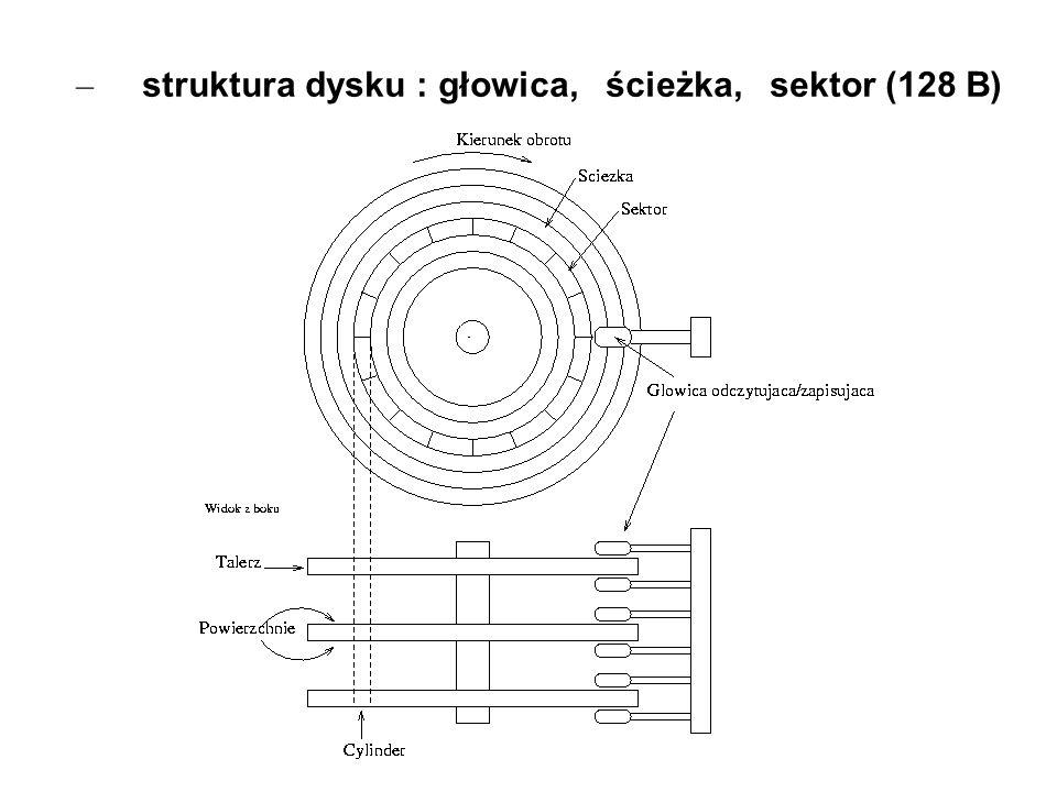 – struktura dysku : głowica, ścieżka, sektor (128 B)