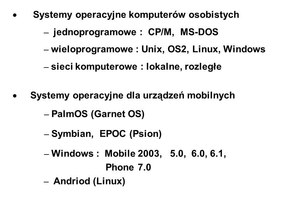 Systemy operacyjne komputerów osobistych – jednoprogramowe : CP/M, MS-DOS – wieloprogramowe : Unix, OS2, Linux, Windows – sieci komputerowe : lokalne,