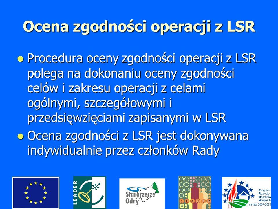 Ocena zgodności operacji z LSR Procedura oceny zgodności operacji z LSR polega na dokonaniu oceny zgodności celów i zakresu operacji z celami ogólnymi, szczegółowymi i przedsięwzięciami zapisanymi w LSR Procedura oceny zgodności operacji z LSR polega na dokonaniu oceny zgodności celów i zakresu operacji z celami ogólnymi, szczegółowymi i przedsięwzięciami zapisanymi w LSR Ocena zgodności z LSR jest dokonywana indywidualnie przez członków Rady Ocena zgodności z LSR jest dokonywana indywidualnie przez członków Rady