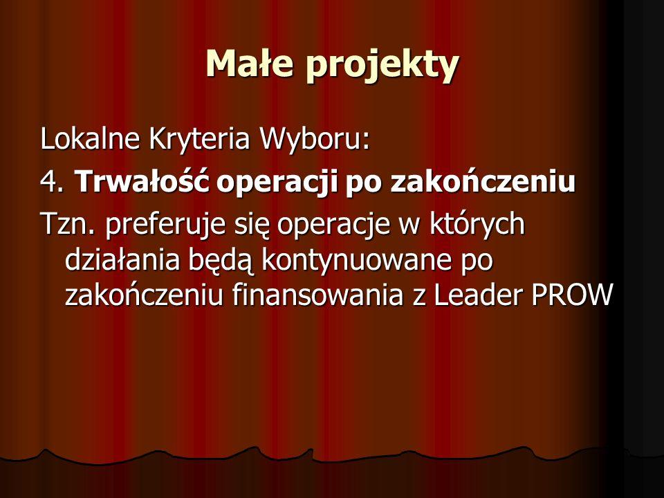 Małe projekty Lokalne Kryteria Wyboru: 4. Trwałość operacji po zakończeniu Tzn.
