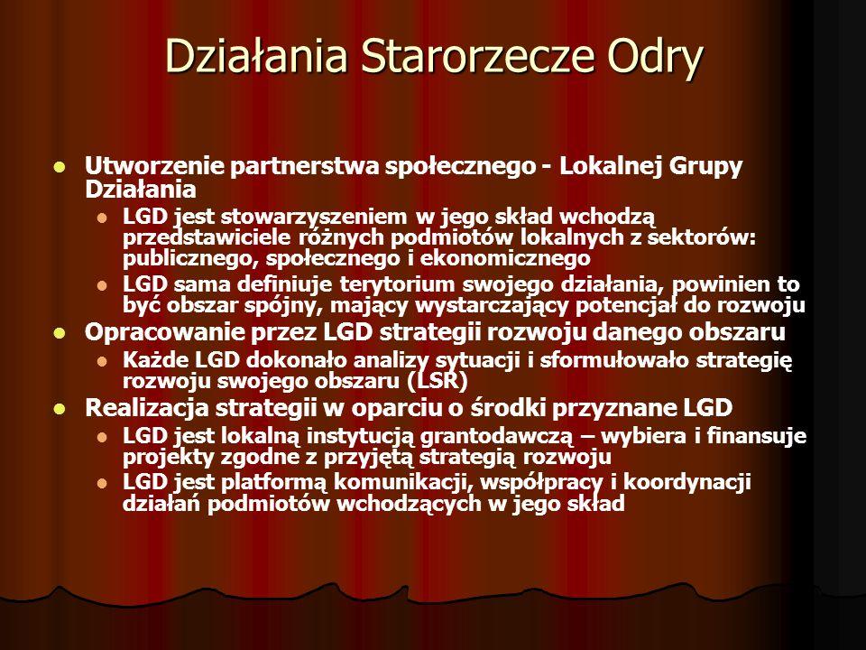 Działania Starorzecze Odry Utworzenie partnerstwa społecznego - Lokalnej Grupy Działania LGD jest stowarzyszeniem w jego skład wchodzą przedstawiciele różnych podmiotów lokalnych z sektorów: publicznego, społecznego i ekonomicznego LGD sama definiuje terytorium swojego działania, powinien to być obszar spójny, mający wystarczający potencjał do rozwoju Opracowanie przez LGD strategii rozwoju danego obszaru Każde LGD dokonało analizy sytuacji i sformułowało strategię rozwoju swojego obszaru (LSR) Realizacja strategii w oparciu o środki przyznane LGD LGD jest lokalną instytucją grantodawczą – wybiera i finansuje projekty zgodne z przyjętą strategią rozwoju LGD jest platformą komunikacji, współpracy i koordynacji działań podmiotów wchodzących w jego skład