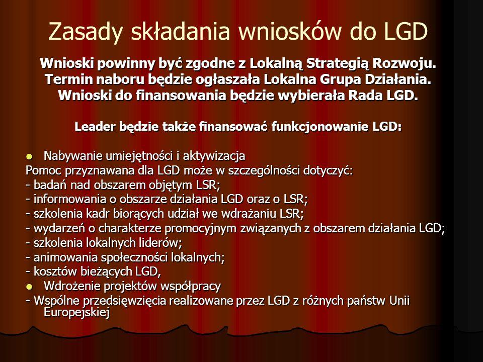 Zasady składania wniosków do LGD Wnioski powinny być zgodne z Lokalną Strategią Rozwoju.