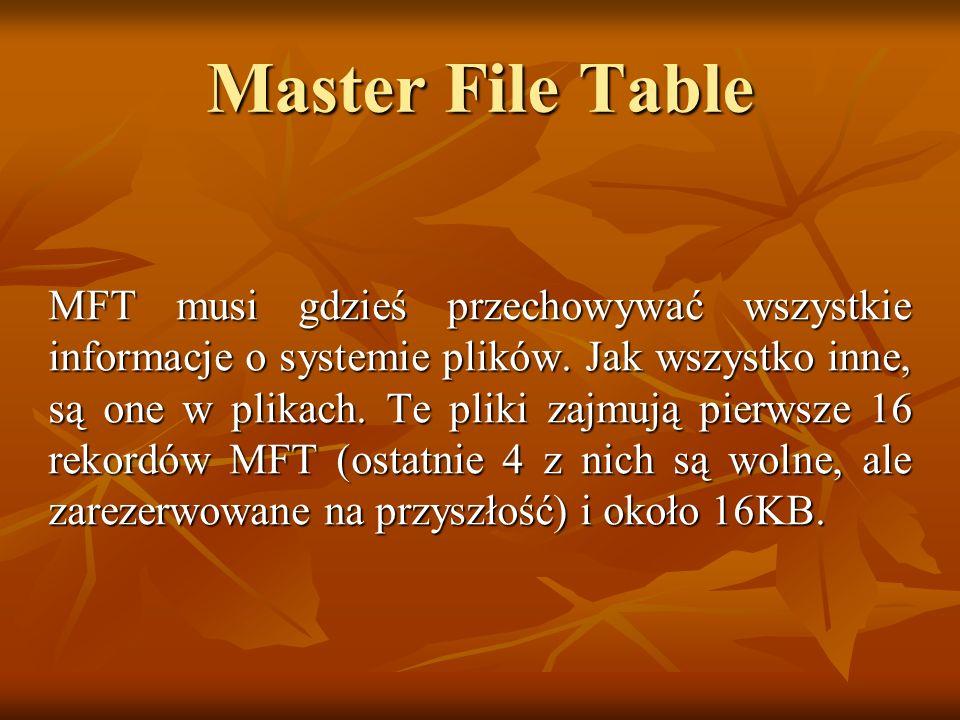 Master File Table MFT musi gdzieś przechowywać wszystkie informacje o systemie plików. Jak wszystko inne, są one w plikach. Te pliki zajmują pierwsze