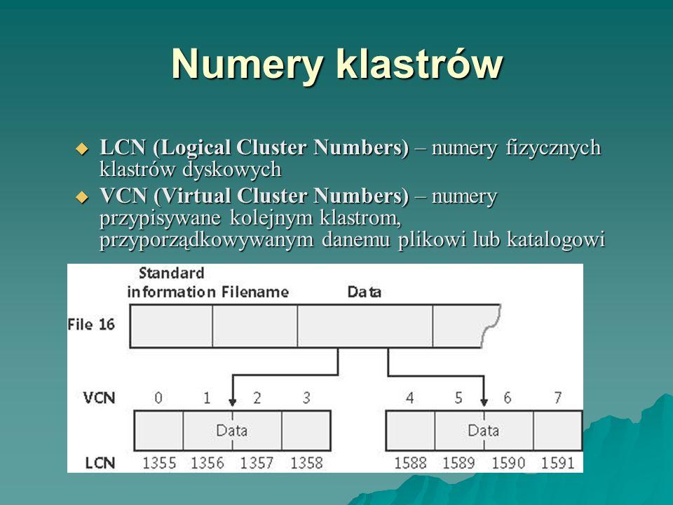 Numery klastrów LCN (Logical Cluster Numbers) – numery fizycznych klastrów dyskowych LCN (Logical Cluster Numbers) – numery fizycznych klastrów dyskow