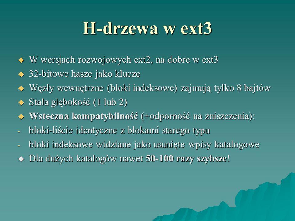 H-drzewa w ext3 W wersjach rozwojowych ext2, na dobre w ext3 W wersjach rozwojowych ext2, na dobre w ext3 32-bitowe hasze jako klucze 32-bitowe hasze