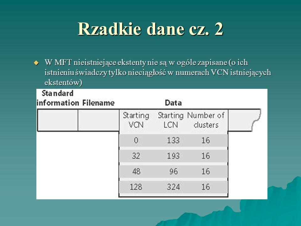 Rzadkie dane cz. 2 W MFT nieistniejące ekstenty nie są w ogóle zapisane (o ich istnieniu świadczy tylko nieciągłość w numerach VCN istniejących eksten