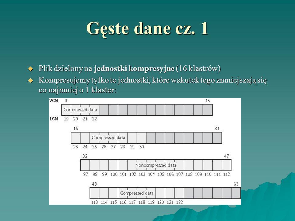 Gęste dane cz. 1 Plik dzielony na jednostki kompresyjne (16 klastrów) Plik dzielony na jednostki kompresyjne (16 klastrów) Kompresujemy tylko te jedno
