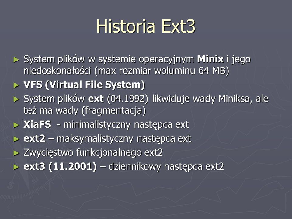 Historia Ext3 System plików w systemie operacyjnym Minix i jego niedoskonałości (max rozmiar woluminu 64 MB) System plików w systemie operacyjnym Mini