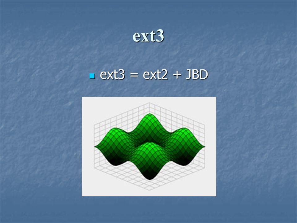 ext3 ext3 = ext2 + JBD ext3 = ext2 + JBD