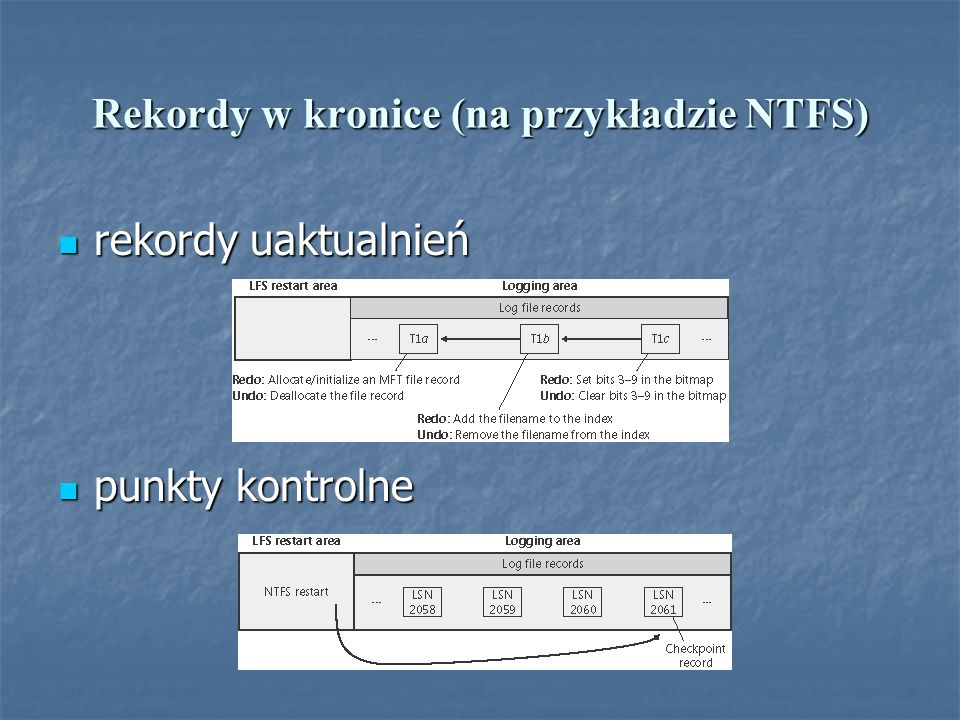 Rekordy w kronice (na przykładzie NTFS) rekordy uaktualnień rekordy uaktualnień punkty kontrolne punkty kontrolne