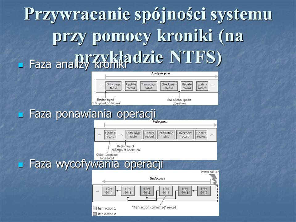 Przywracanie spójności systemu przy pomocy kroniki (na przykładzie NTFS) Faza analizy kroniki Faza analizy kroniki Faza ponawiania operacji Faza ponaw
