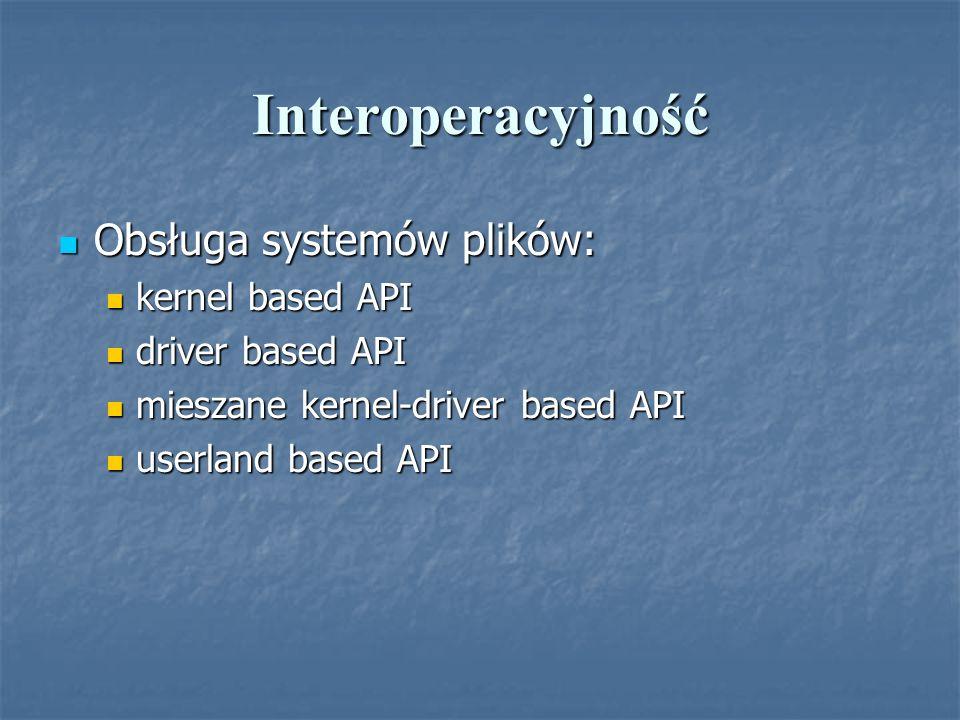 Interoperacyjność Obsługa systemów plików: Obsługa systemów plików: kernel based API kernel based API driver based API driver based API mieszane kerne