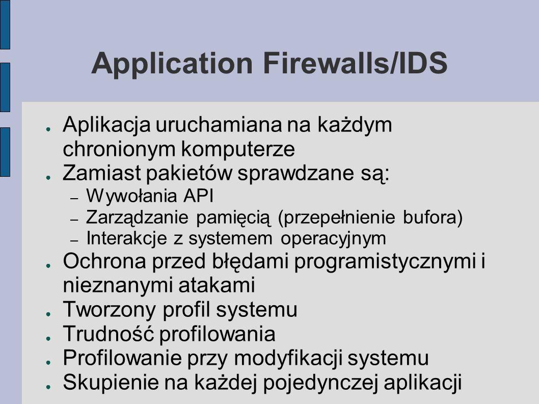 Application Firewalls/IDS Aplikacja uruchamiana na każdym chronionym komputerze Zamiast pakietów sprawdzane są: – Wywołania API – Zarządzanie pamięcią