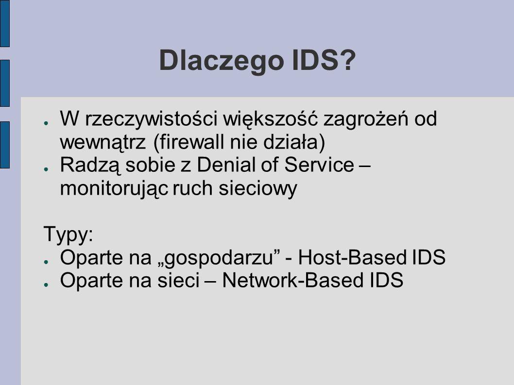 Dlaczego IDS? W rzeczywistości większość zagrożeń od wewnątrz (firewall nie działa) Radzą sobie z Denial of Service – monitorując ruch sieciowy Typy: