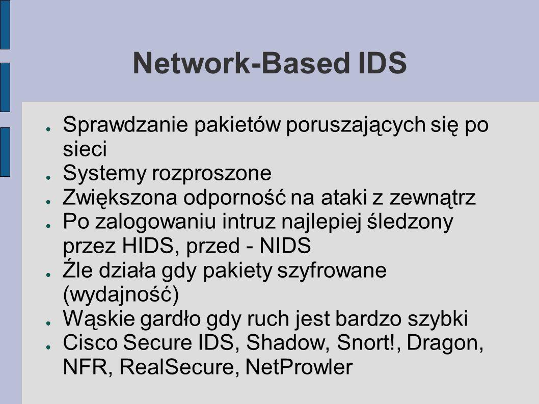 HIDS i NIDS jednocześnie Rozproszona sieć agentów HIDS Dobra implementacja powinna działać tak jak HIDS, w czasie rzeczywistym HIDS priorytetowy NIDS przy 100 Mbps/szyfrowaniu nie działa wydajnie