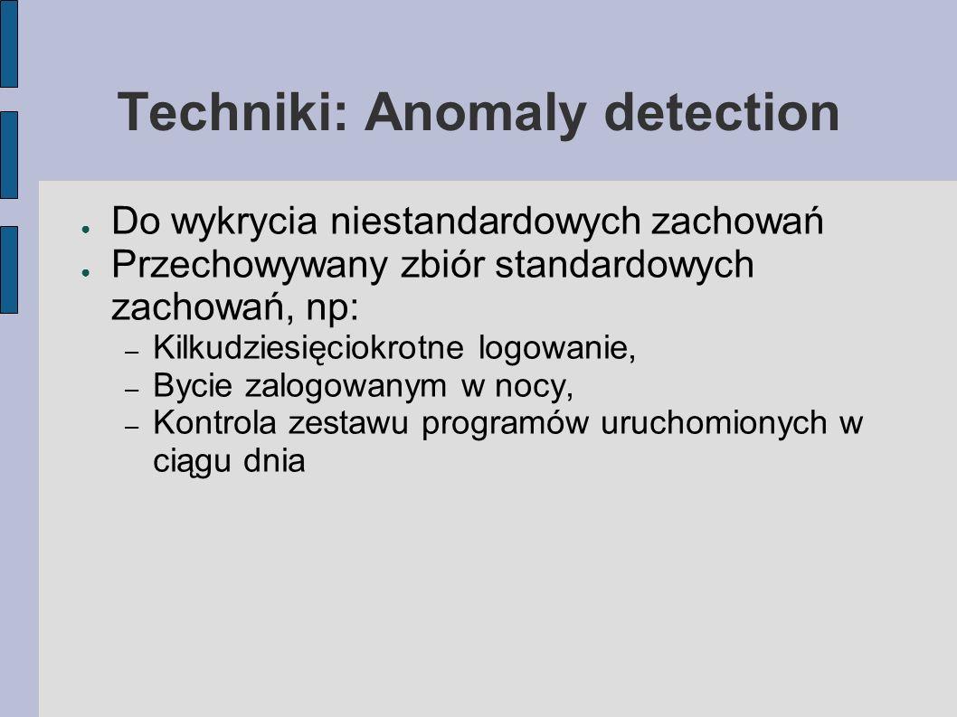 Techniki: Anomaly detection Do wykrycia niestandardowych zachowań Przechowywany zbiór standardowych zachowań, np: – Kilkudziesięciokrotne logowanie, –