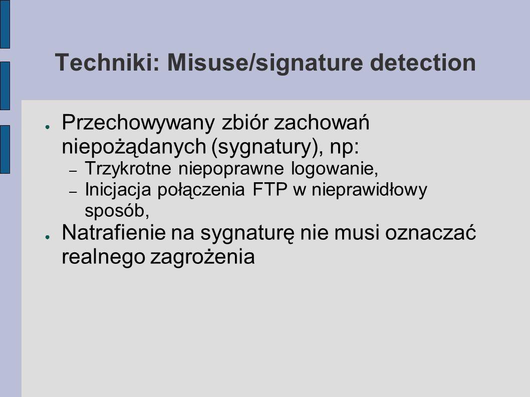 Techniki: Misuse/signature detection Przechowywany zbiór zachowań niepożądanych (sygnatury), np: – Trzykrotne niepoprawne logowanie, – Inicjacja połąc