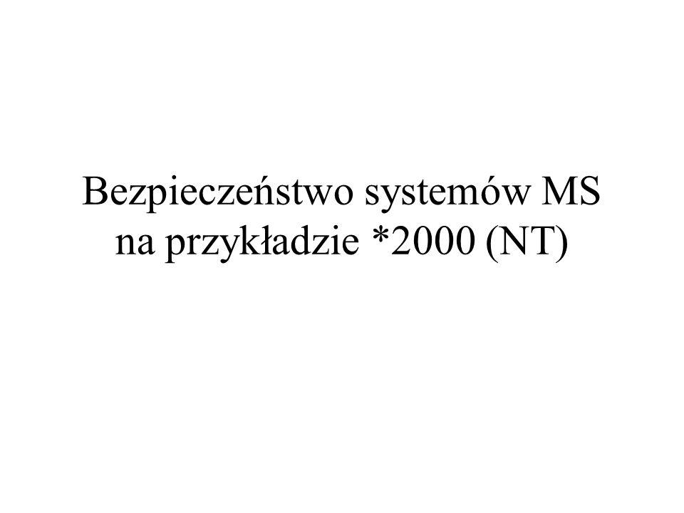 Bezpieczeństwo systemów MS na przykładzie *2000 (NT)