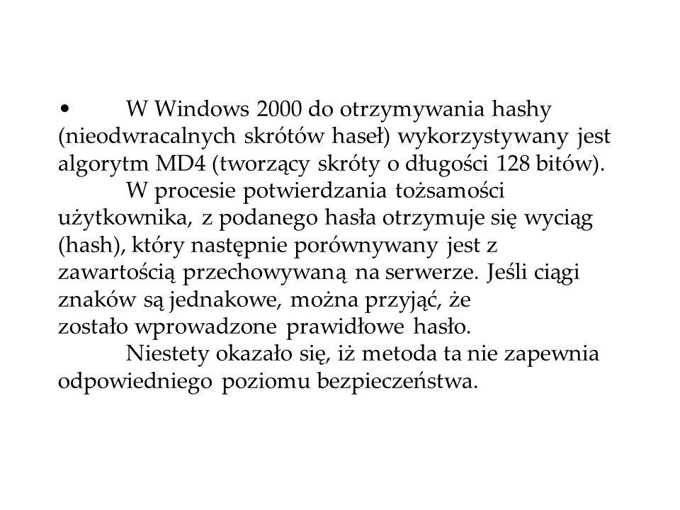 W Windows 2000 do otrzymywania hashy (nieodwracalnych skrótów haseł) wykorzystywany jest algorytm MD4 (tworzący skróty o długości 128 bitów). W proces