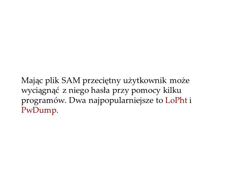 Mając plik SAM przeciętny użytkownik może wyciągnąć z niego hasła przy pomocy kilku programów. Dwa najpopularniejsze to LoPht i PwDump.