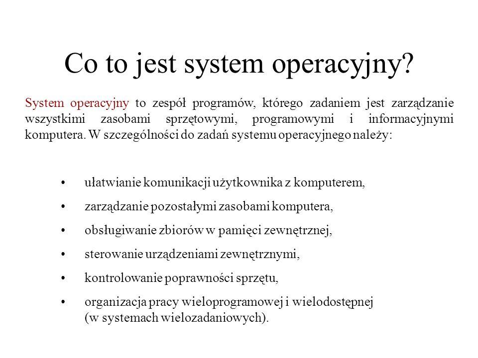 Co to jest system operacyjny? System operacyjny to zespół programów, którego zadaniem jest zarządzanie wszystkimi zasobami sprzętowymi, programowymi i