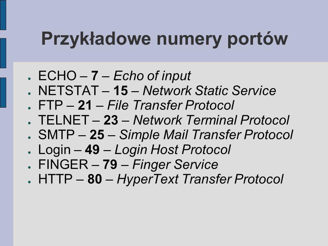 Przykładowe numery portów ECHO – 7 – Echo of input NETSTAT – 15 – Network Static Service FTP – 21 – File Transfer Protocol TELNET – 23 – Network Termi