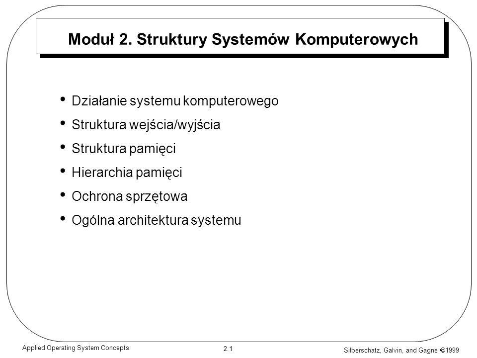 Silberschatz, Galvin, and Gagne 1999 2.12 Applied Operating System Concepts Mechanizm poruszania dysku Ścieżka tOś Urządzenie uruchamiające Głowica odczytując- -zapisująca Sektor s Cylinder c Płyta Kierunek obrotów Ramię