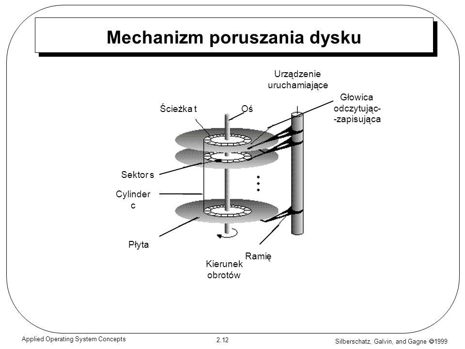 Silberschatz, Galvin, and Gagne 1999 2.12 Applied Operating System Concepts Mechanizm poruszania dysku Ścieżka tOś Urządzenie uruchamiające Głowica od