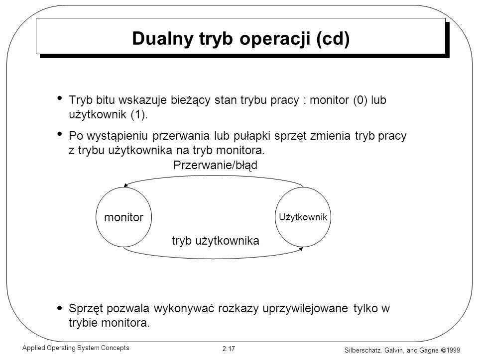 Silberschatz, Galvin, and Gagne 1999 2.17 Applied Operating System Concepts Dualny tryb operacji (cd) Tryb bitu wskazuje bieżący stan trybu pracy : mo