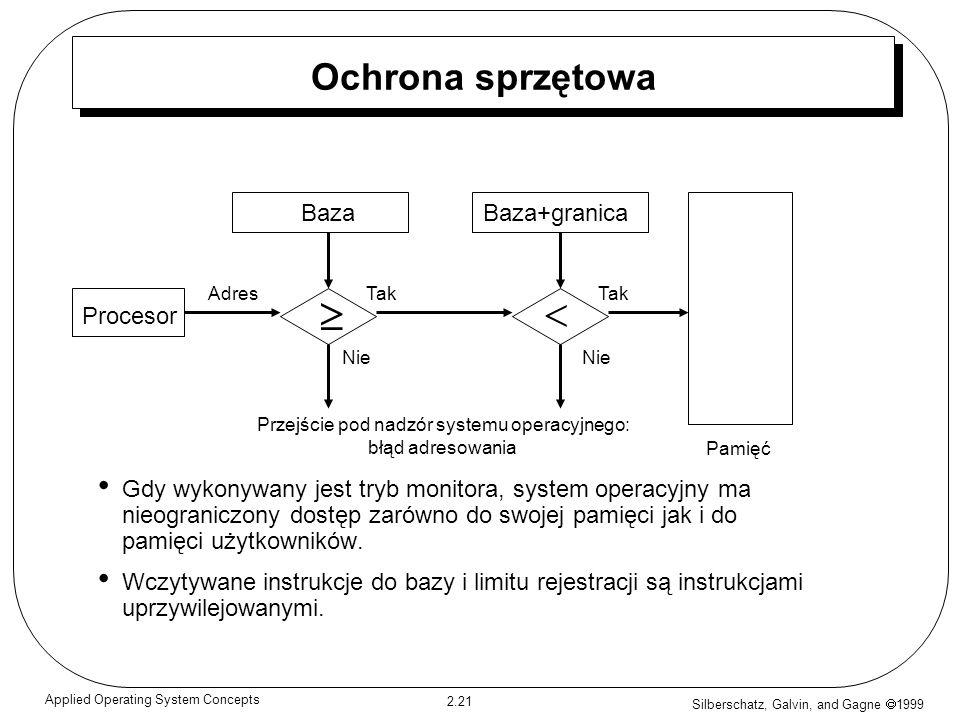 Silberschatz, Galvin, and Gagne 1999 2.21 Applied Operating System Concepts Ochrona sprzętowa Gdy wykonywany jest tryb monitora, system operacyjny ma