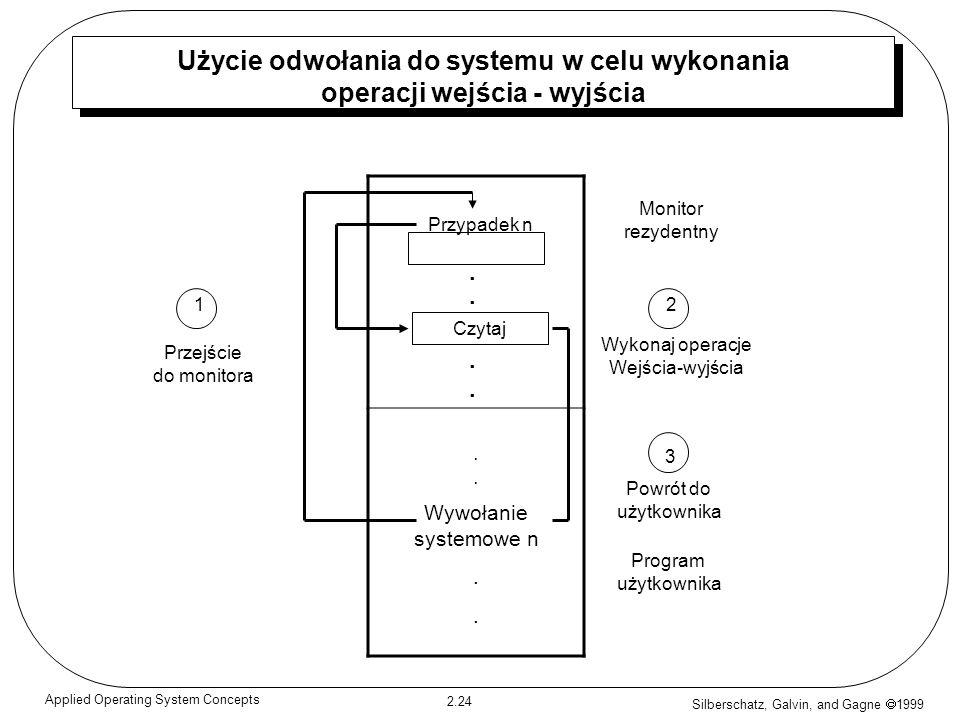 Silberschatz, Galvin, and Gagne 1999 2.24 Applied Operating System Concepts Użycie odwołania do systemu w celu wykonania operacji wejścia - wyjścia. W