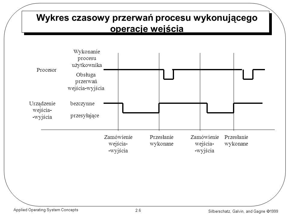 Silberschatz, Galvin, and Gagne 1999 2.7 Applied Operating System Concepts Budowa urządzeń wejścia/wyjścia Po rozpoczęciu operacji wejścia/wyjścia, operacja przesyłania danych rozpoczyna się, kończy po czym sterowanie wraca do procesu użytkownika.