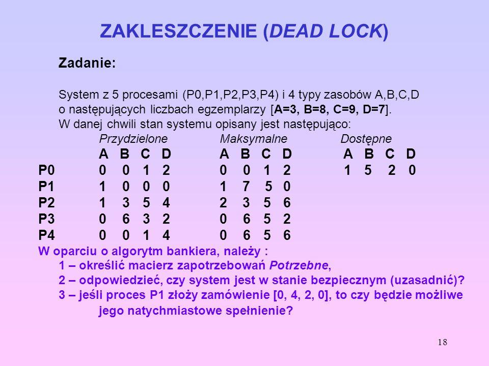 18 ZAKLESZCZENIE (DEAD LOCK) Zadanie: System z 5 procesami (P0,P1,P2,P3,P4) i 4 typy zasobów A,B,C,D o następujących liczbach egzemplarzy [A=3, B=8, C