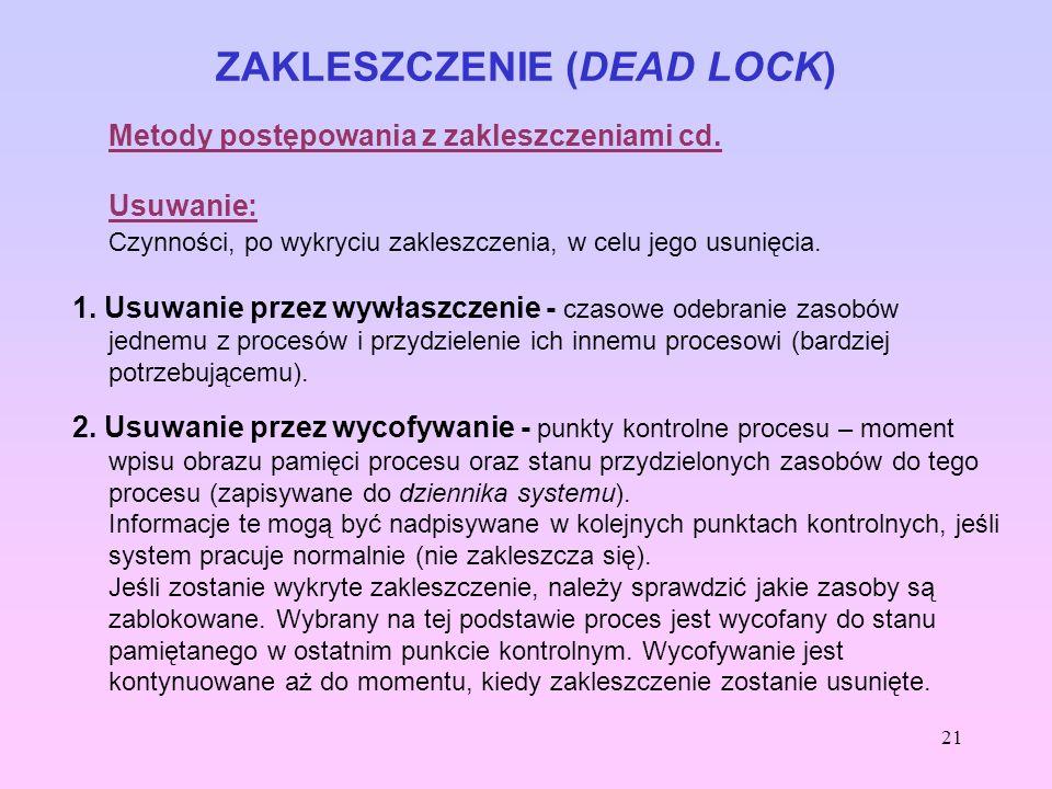 21 ZAKLESZCZENIE (DEAD LOCK) Metody postępowania z zakleszczeniami cd. Usuwanie: Czynności, po wykryciu zakleszczenia, w celu jego usunięcia. 1. Usuwa