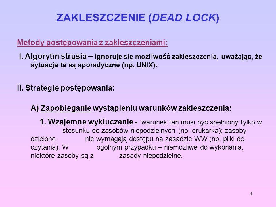 4 ZAKLESZCZENIE (DEAD LOCK) Metody postępowania z zakleszczeniami: I. Algorytm strusia – ignoruje się możliwość zakleszczenia, uważając, że sytuacje t