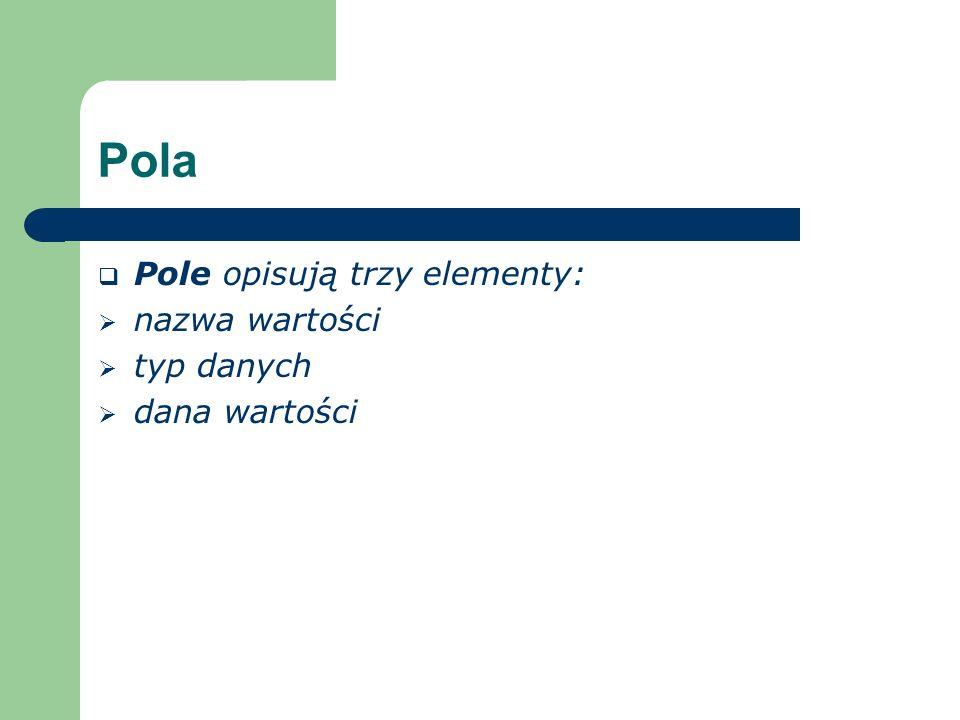 Pola Pole opisują trzy elementy: nazwa wartości typ danych dana wartości