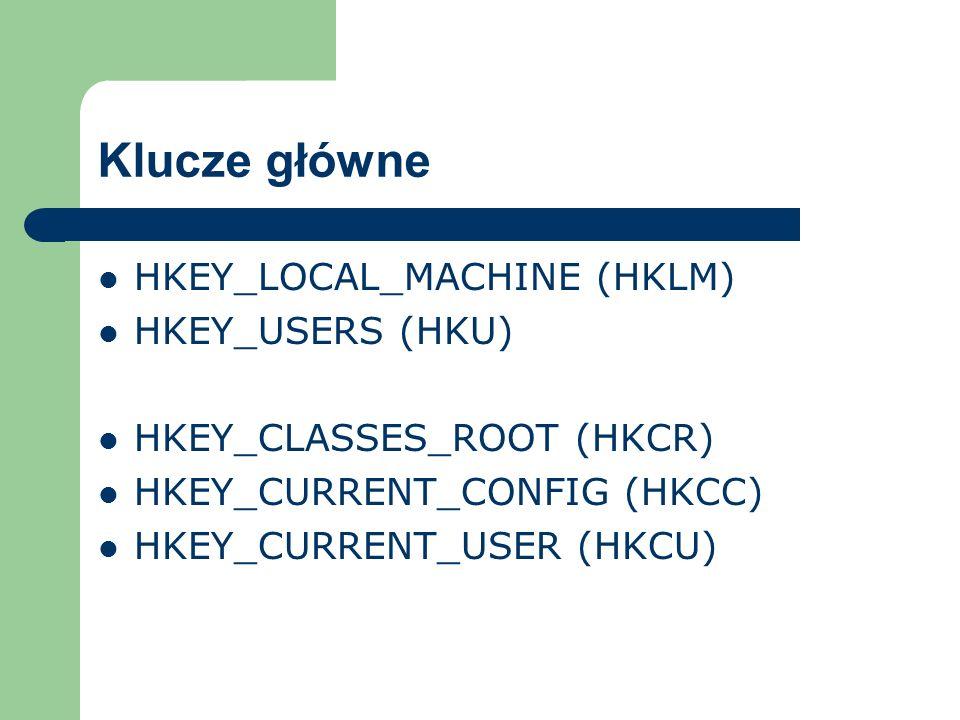Klucze główne HKEY_LOCAL_MACHINE (HKLM) HKEY_USERS (HKU) HKEY_CLASSES_ROOT (HKCR) HKEY_CURRENT_CONFIG (HKCC) HKEY_CURRENT_USER (HKCU)