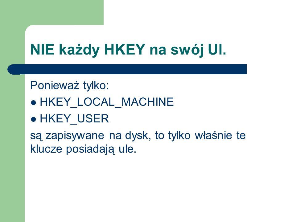 NIE każdy HKEY na swój Ul. Ponieważ tylko: HKEY_LOCAL_MACHINE HKEY_USER są zapisywane na dysk, to tylko właśnie te klucze posiadają ule.