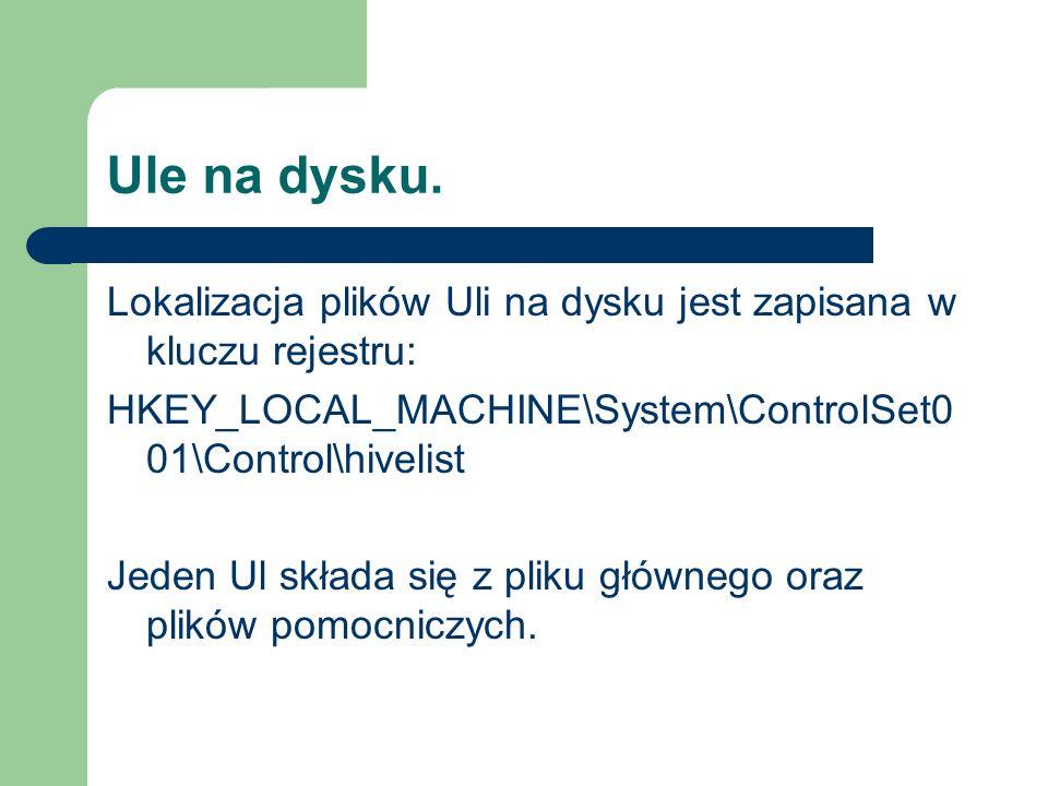 Ule na dysku. Lokalizacja plików Uli na dysku jest zapisana w kluczu rejestru: HKEY_LOCAL_MACHINE\System\ControlSet0 01\Control\hivelist Jeden Ul skła