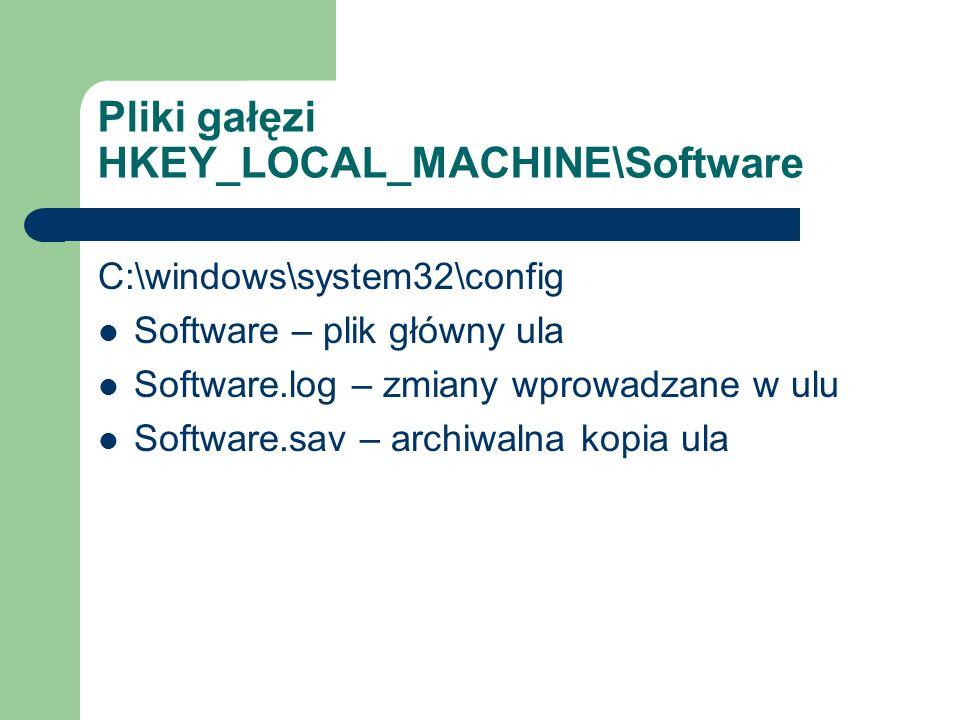 Pliki gałęzi HKEY_LOCAL_MACHINE\Software C:\windows\system32\config Software – plik główny ula Software.log – zmiany wprowadzane w ulu Software.sav –