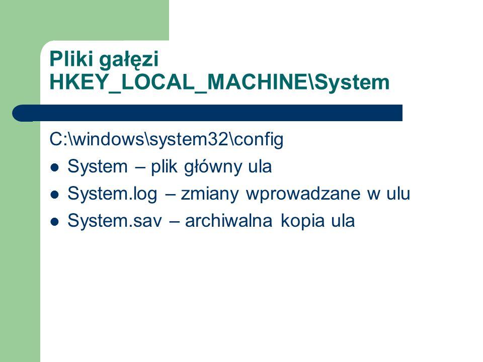Pliki gałęzi HKEY_LOCAL_MACHINE\System C:\windows\system32\config System – plik główny ula System.log – zmiany wprowadzane w ulu System.sav – archiwal