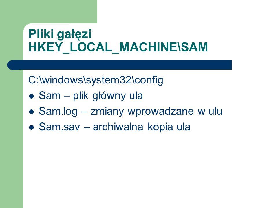 Pliki gałęzi HKEY_LOCAL_MACHINE\SAM C:\windows\system32\config Sam – plik główny ula Sam.log – zmiany wprowadzane w ulu Sam.sav – archiwalna kopia ula