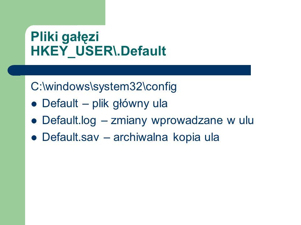 Pliki gałęzi HKEY_USER\.Default C:\windows\system32\config Default – plik główny ula Default.log – zmiany wprowadzane w ulu Default.sav – archiwalna k