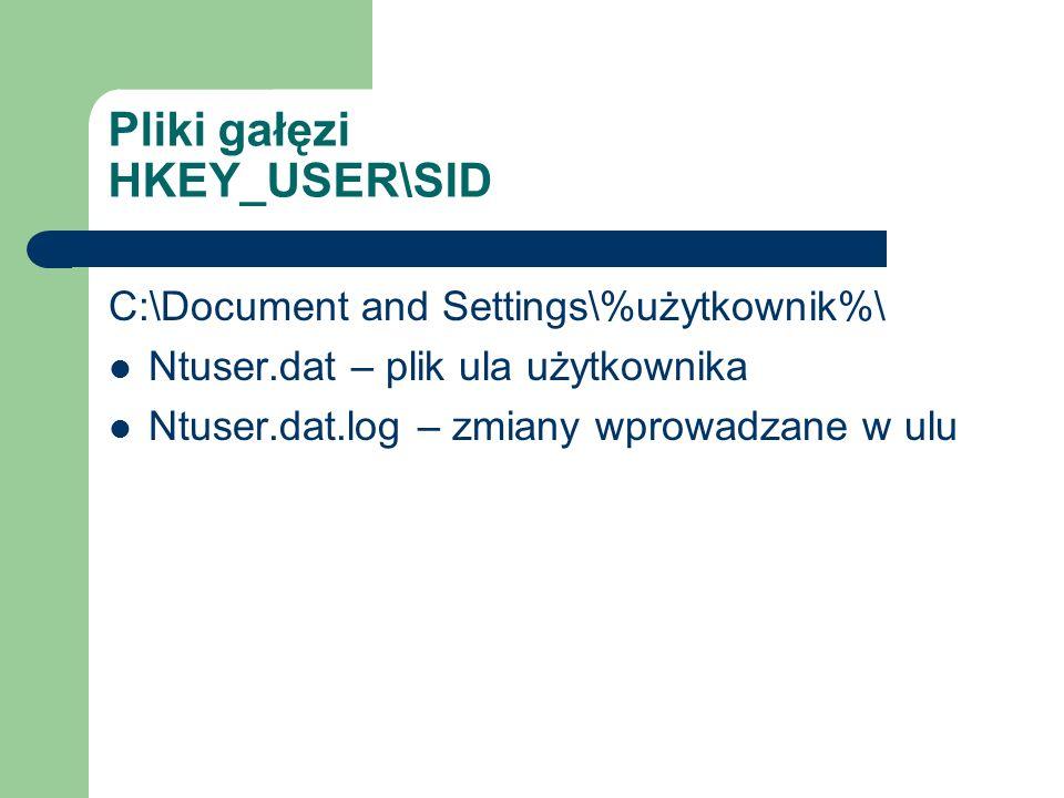 Pliki gałęzi HKEY_USER\SID C:\Document and Settings\%użytkownik%\ Ntuser.dat – plik ula użytkownika Ntuser.dat.log – zmiany wprowadzane w ulu