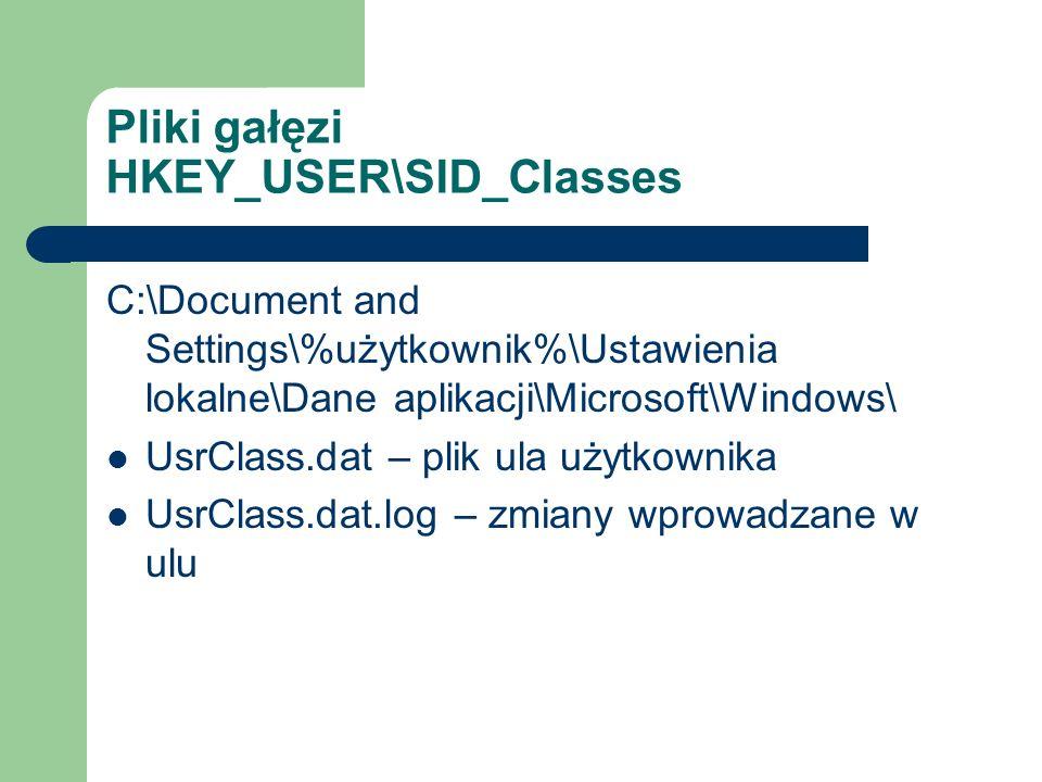 Pliki gałęzi HKEY_USER\SID_Classes C:\Document and Settings\%użytkownik%\Ustawienia lokalne\Dane aplikacji\Microsoft\Windows\ UsrClass.dat – plik ula