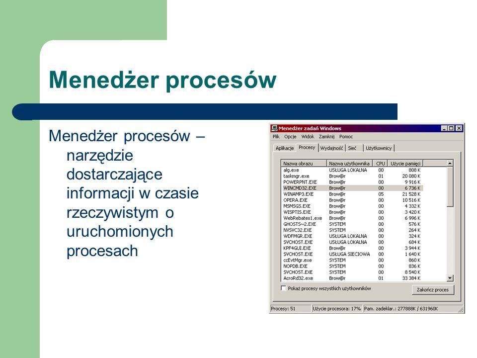 Menedżer procesów Menedżer procesów – narzędzie dostarczające informacji w czasie rzeczywistym o uruchomionych procesach
