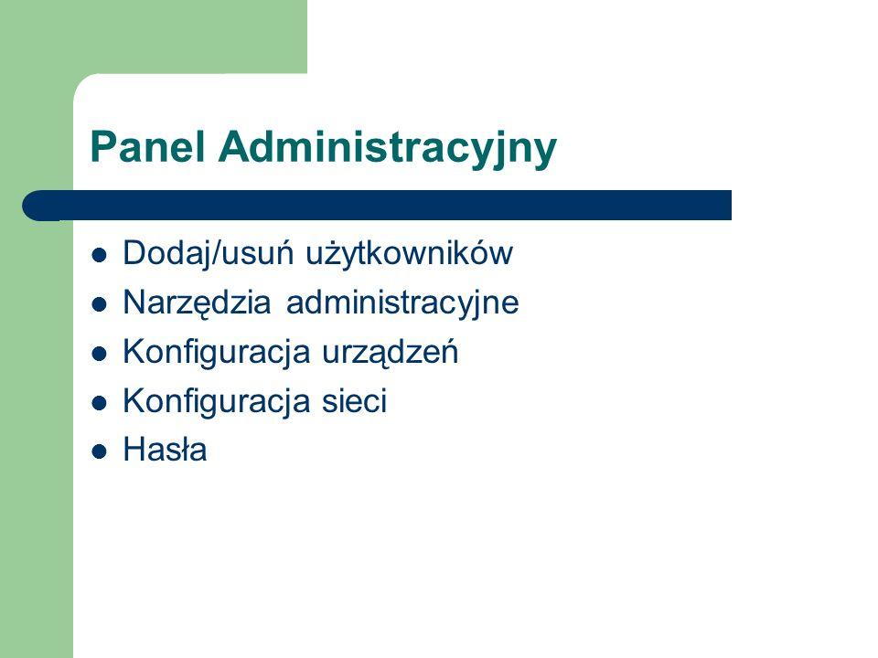 Panel Administracyjny Dodaj/usuń użytkowników Narzędzia administracyjne Konfiguracja urządzeń Konfiguracja sieci Hasła