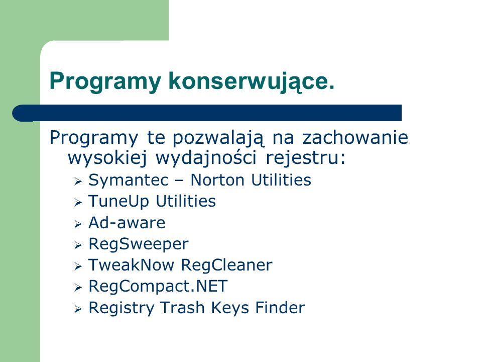 Programy konserwujące. Programy te pozwalają na zachowanie wysokiej wydajności rejestru: Symantec – Norton Utilities TuneUp Utilities Ad-aware RegSwee